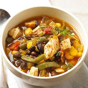 Mexi Chicken Soup For a savory weeknight soup recipe, try this combination of black beans, chicken, hominy, and salsa. Better yet, it's ready in under 30 minutes.