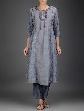 Grey-Red Embroidered Cotton Chambray Kurta