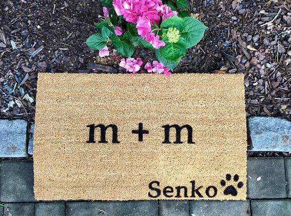 Personalized couple and pet door mat