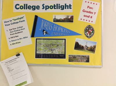 College Spotlight Bulletin Board to promote being career and college ready--from http://themiddleschoolcounselor.blogspot.com/