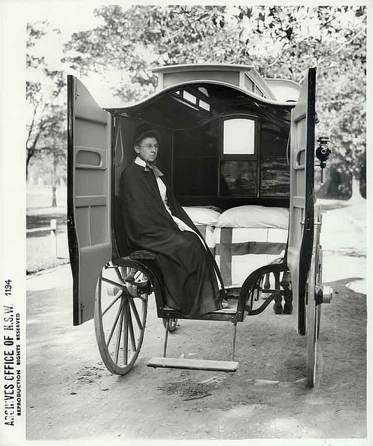 Nurse in the interior of Coast Hospital horsedrawn ambulance in New South Wales. (date unknown). A brief history of nursing in New South Wales from the early days of the Colony and an overview of major archival sources relating to nurses is available on our website. Rights: www.records.nsw.gov.au/about-us/rights-and-permissions