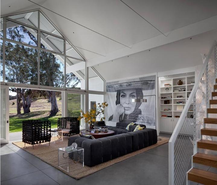 Modern barn house living room