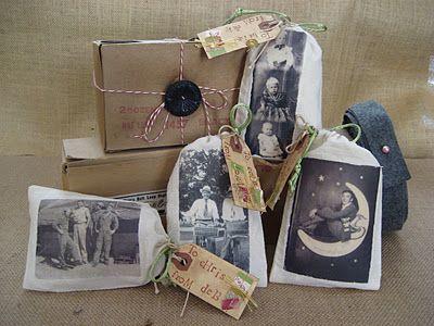 image transfer old photos onto muslin bags