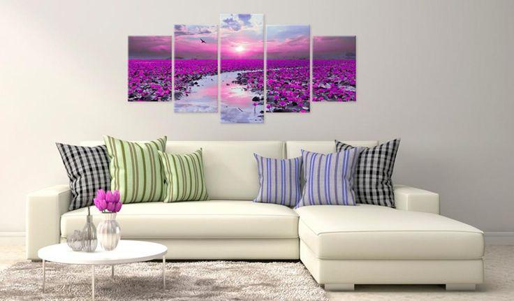 Przepiękny wieloczęściowy obraz na płótnie w odcieniach różu - magiczna rzeka, która doda koloru każdemu mieszkaniu!