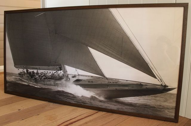 An exquisite sepia print of Hampton Sailing by artist Edwin Levick. This licensed print is called 'J Class Sailboat 1934 and captures the fine detail of craftsmanship, nature and workmanship.