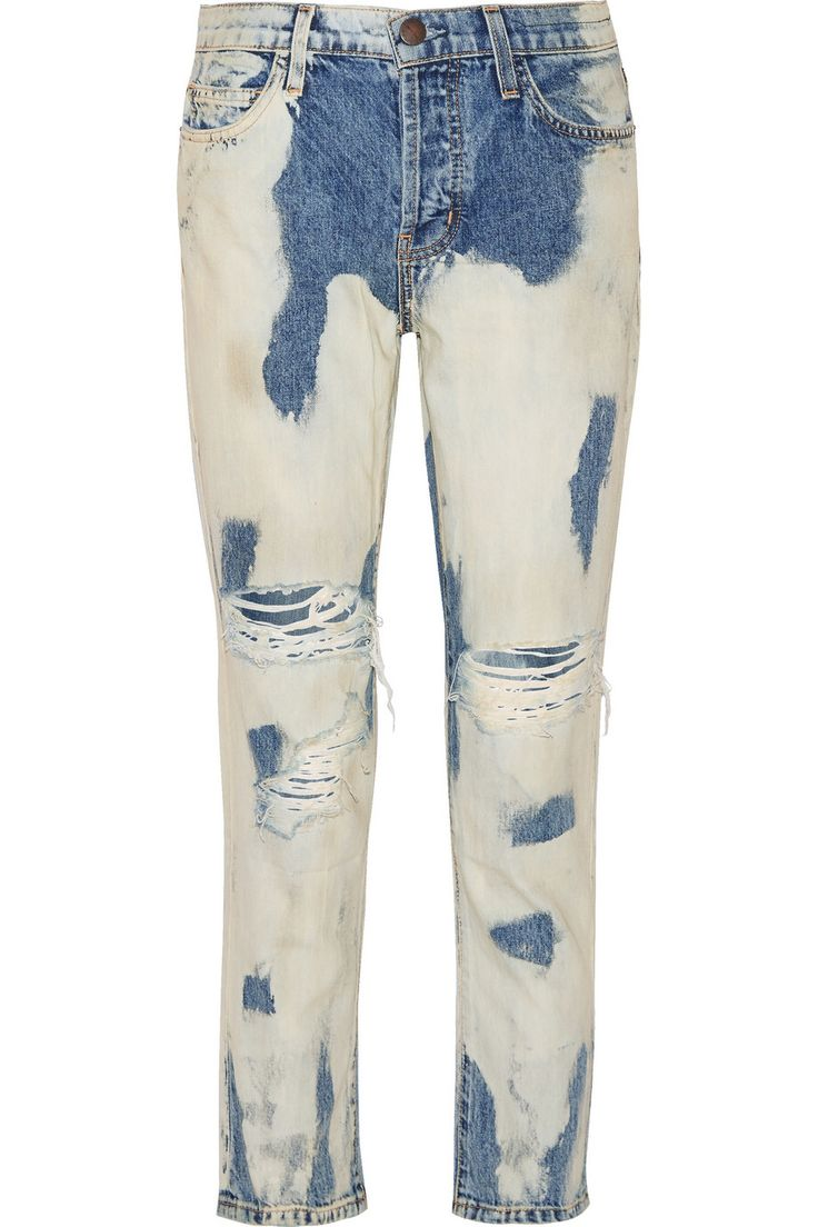 CURRENT/ELLIOTT The Vintage Straight distressed mid-rise straight-leg jeans $115.20 http://www.theoutnet.com/products/699547