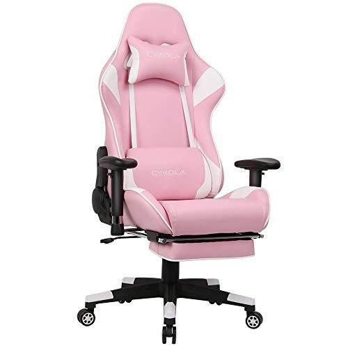 Cyrola Pink Gaming Chair With Footrest Armrest Adjustable Big Size High Back 90 180 And Gaming Seat 360 Swivel Video G In 2020 Gaming Chair Gamer Chair Pc Gaming Chair
