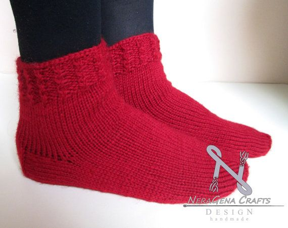 Hand knitted red woolen socks,knitted,christmas red,christmas gift,stocking stuffer,woman's gift,