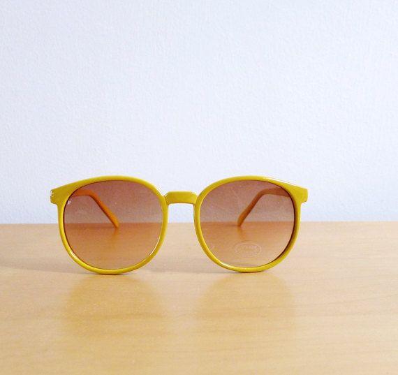 Vintage 80's Sunglasses Yellow Lemonade by fivestonesvintage, $15.00