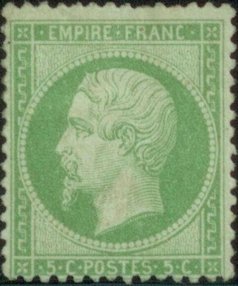 Empire dentelé, timbre de France N°20 Neuf*. Cote 350 euros.