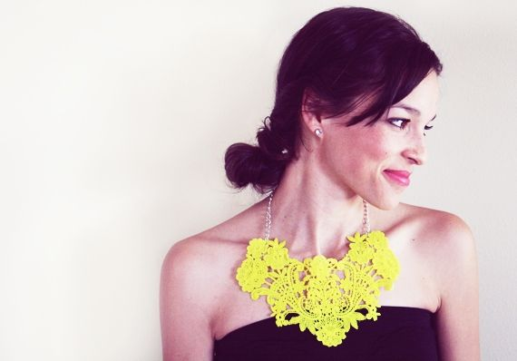 neon lace necklace