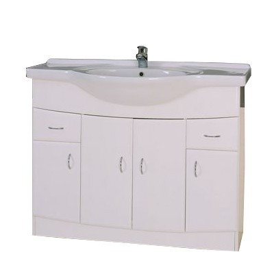 Jasmine 105cm Vanity Unit    The Jasmine 105 4 Door Cabinet is a stylish high gloss white floor standing bathroom cabinet with 4 soft closing doors and 2 soft closing draws, ideal for any modern bathroom. Semi recessed ceramic basin is included in price.  Was £389.99   Now £269.99