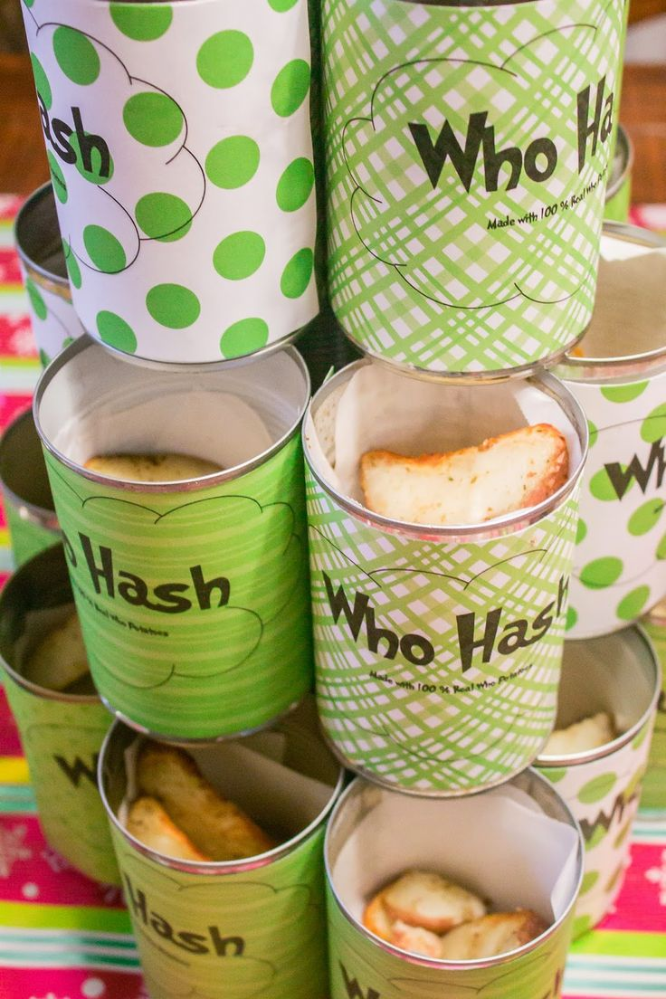 Who Hash : How the Grinch Stole Christmas / Cindy Lou-Who inspired Birthday Party or Christmas party. Perfect for a whobilation. Who hash potato can idea. Fill with Alexis frozen potatoes for a quick hash/potato side.