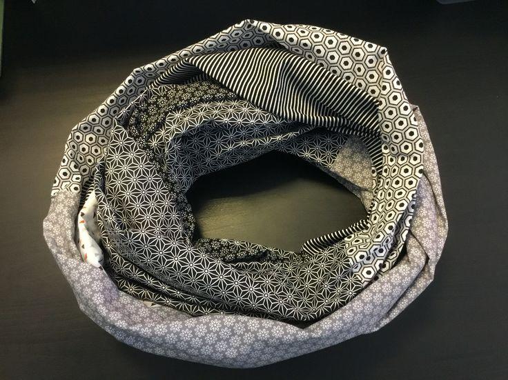 Mon Snood réalisé à partir du tuto : http://fr.dawanda.com/diy-tutoriels/couture/coudre-un-foulard-tube-avec-6-fat-quarters
