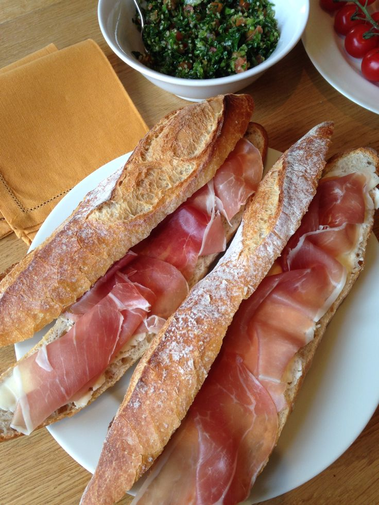Jambon de Bayonne and French butter on a baguette for lunch!