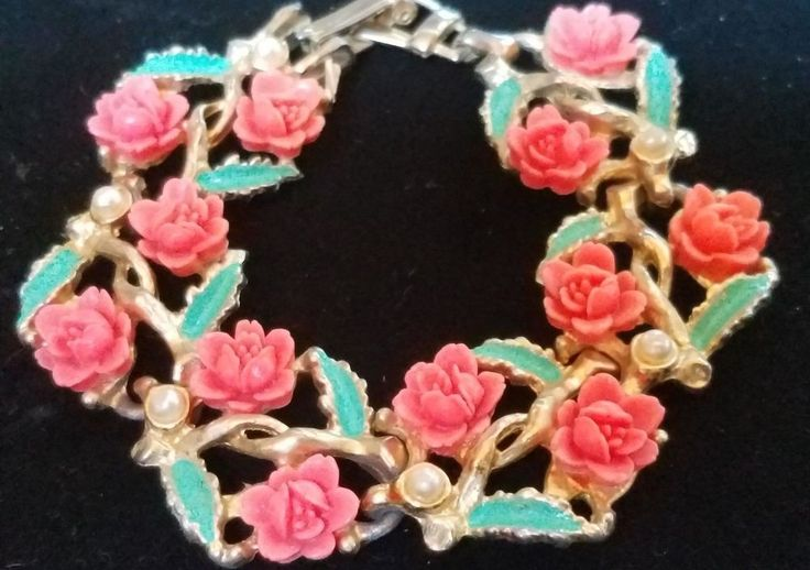 Vintage Carved Celluloid Rose Faux Pearl Bracelet Unsigned Early Coro ? Fashion #Coro #Tennis