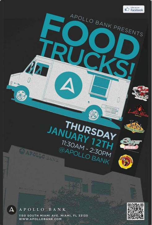 Blue flyer for a food truck event