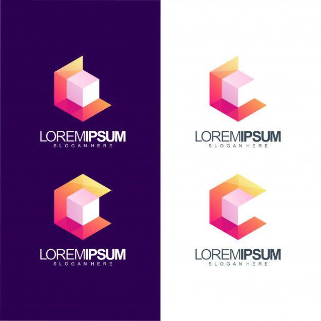 Letter C Cube Logo Illustration Lettering Cube Logos