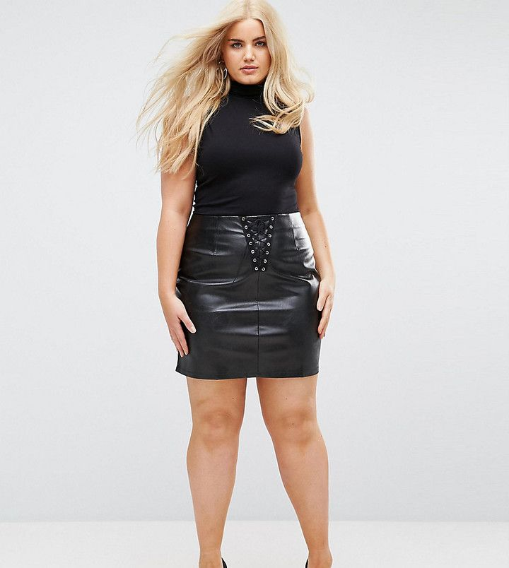 #NaaNaa #PlusSize Bodycon #MiniSkirt In PU With Lace Up Detail #partyoutfit #newyeareveoutfit