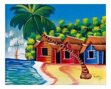 Quadro raffigurante una delle meravigliose spiagge tropicali che bagnano minuscoli addensamenti di casette in legno dai bellissimi colori presenti soprattutto sulle piccole isole. Tecnica acrilico su tela. Già montato su telaio in legno. Dimensioni 60 x 50 (approssimaz. 1-2 cm)  http://www.solohechoamano.it/store/quadri/quadri-caraibi-rep-dominicana-haiti.html?limit=all