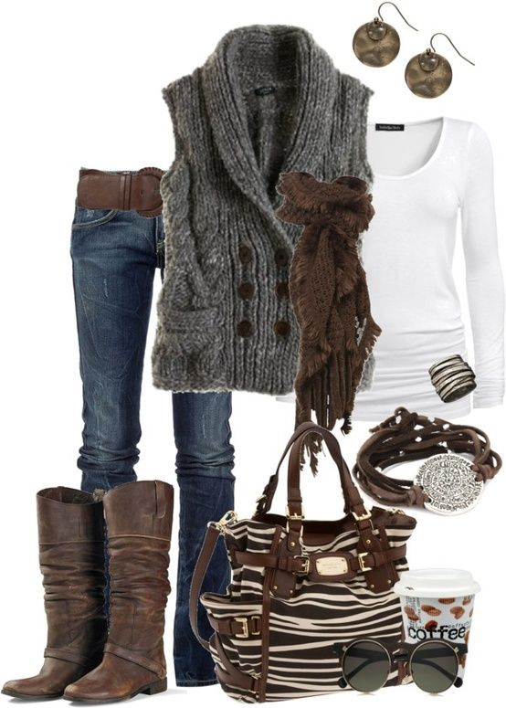 Winter | Jeans, white long sleeve, grey sweater vest, brown boots and belt
