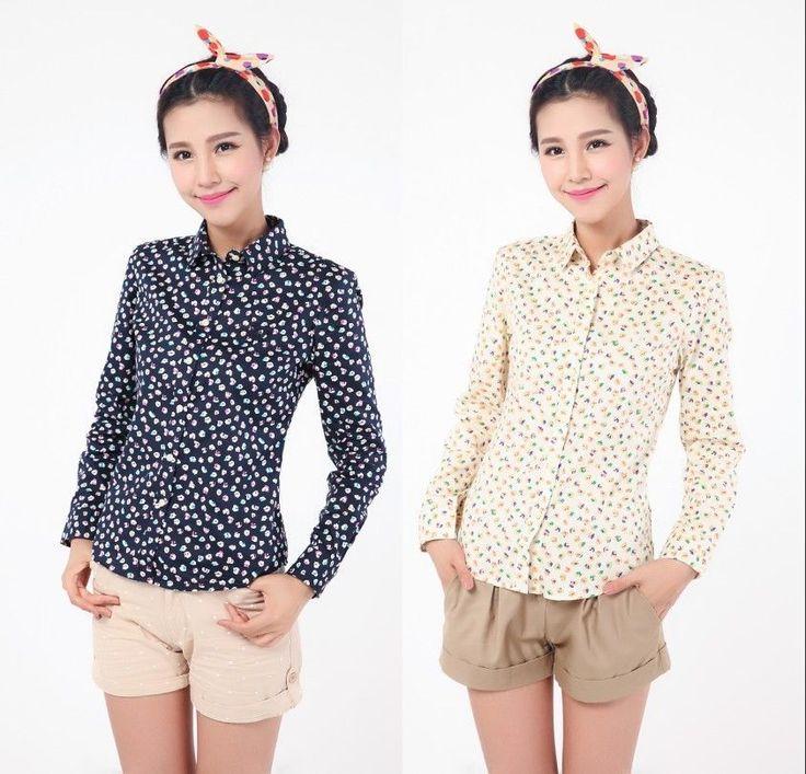 Womens Ladies Casual Long Sleeve Navy/Beige Lapel Cotton Shirt Blouse Tops