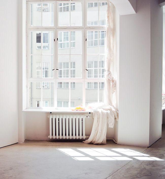 white radiator under window