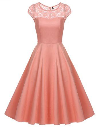 ACEVOG Women's Retro Floral Lace Cap Sleeve Vintage Swing Bridesmaid Dress