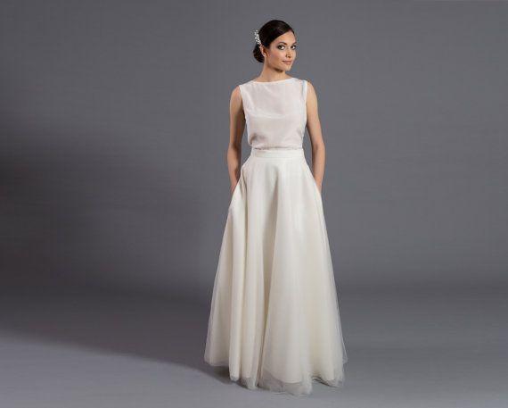 Jupe en tulle maxi avec poches, jupe en tulle, jupe écru, écru maxi jupe, robe de mariée, mariage jupe, robe élégante, mariée, mariage sépare