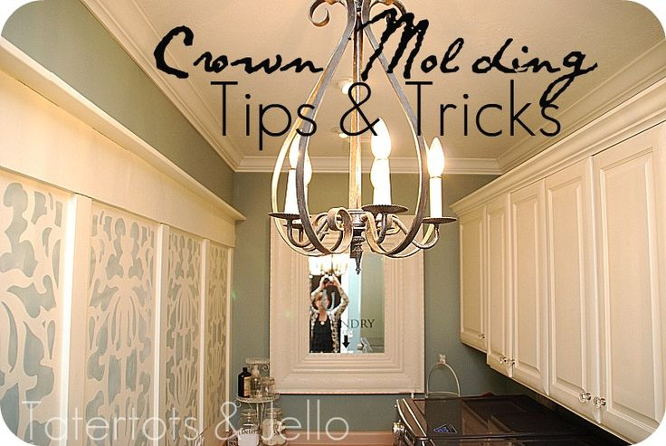 crown molding: Installations Crowns, Decor Ideas, Diy Crowns, Crown Moldings, Laundry Rooms, Tips And Tricks, Crowns Moldings, Anniversaries Cards, Accent Wall