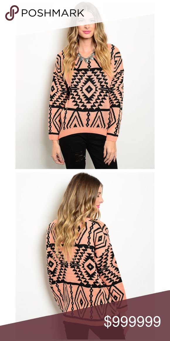 Aztec Tribal Print Sweater Boho Salmon pink sweater with a trendy Aztec tribal print in black. Has long sleeves, ribbed trim, and a scoop neck. A very boho, chic look. Brand new with tags. Boutique, one-of-a-kind item. illa illa Sweaters Crew & Scoop Necks