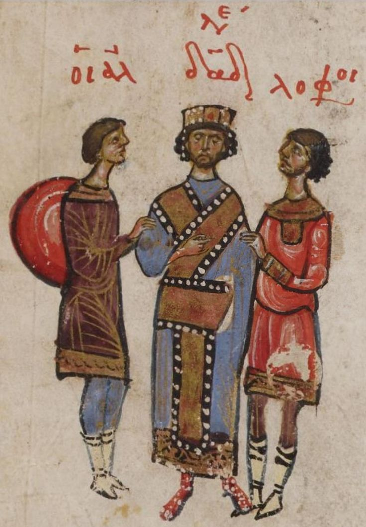 Psalter of Theodore of Caesarea, Byzantine - 69v David and two foreigners