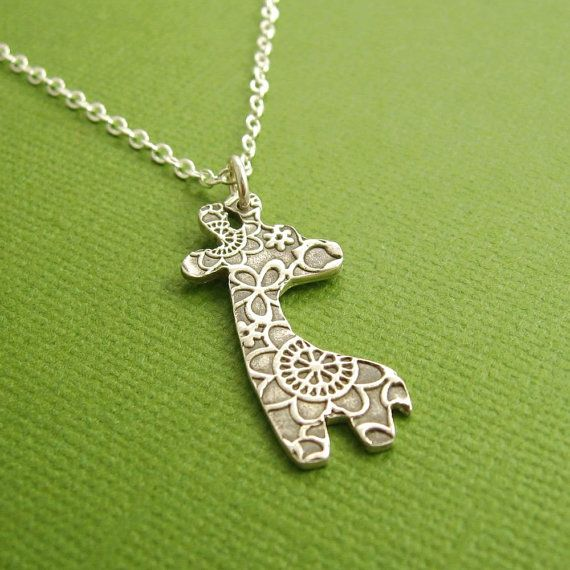 Silver Giraffe Necklace Fine Silver Flowered by Dragonfly65, $55.00