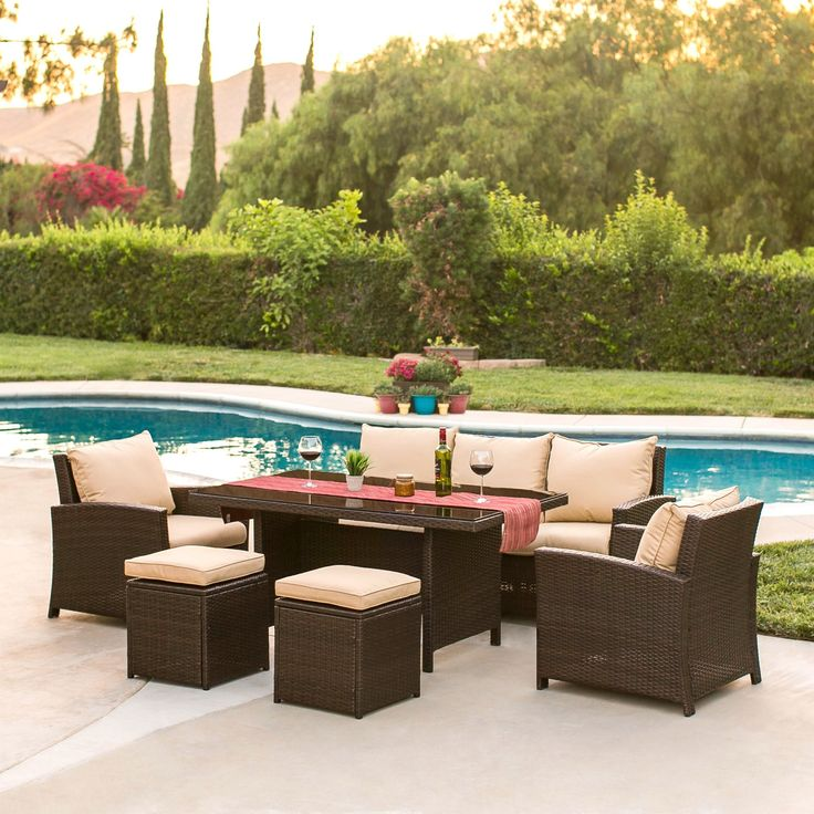 6-Piece Wicker Dining Sofa - Brown – Best Choice Products