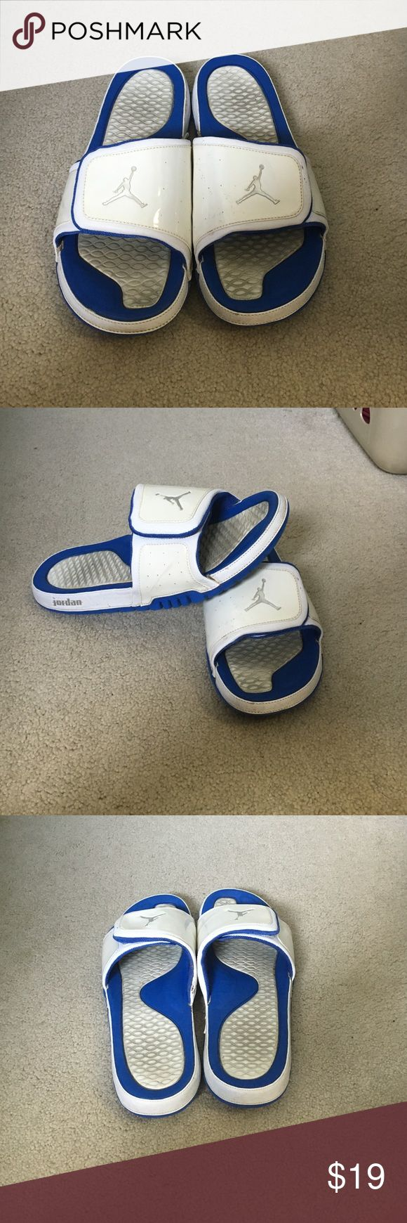 Air Jordan sandals Blue and white Jordan sandals. Good for relaxing on a sunny day. In good condition. Jordan Shoes Sandals