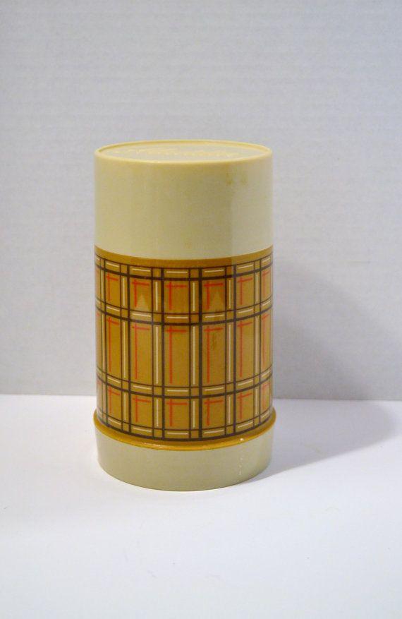 Vintage Plaid Aladdin Thermos Bottle Brown Retro by PanchosPorch
