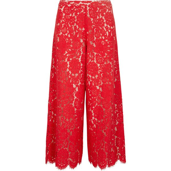 Alice + Olivia Olsen Cropped Lace Trousers - Size 4 ($505) ❤ liked on Polyvore featuring pants, capris, cuffed cropped pants, lace pants, cuffed pants, red trousers and lace trousers