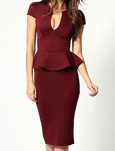 Women's V-neck Noble Peplum Midi Dress – USD $ 17.99