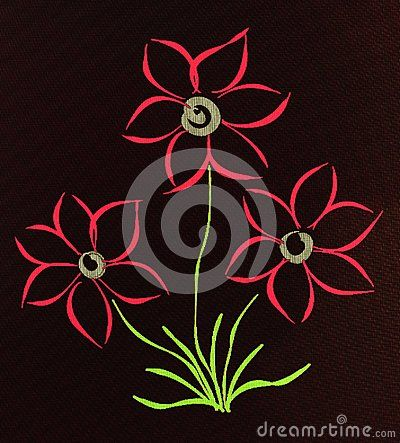A close up of a hand drawn sketch on a tablet of simple red blooms on a black background.