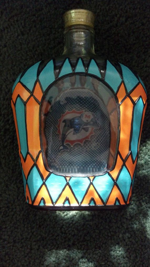 Miami Dolphin's Football  Crown Royal Whisky by PattiesPassion, $65.99