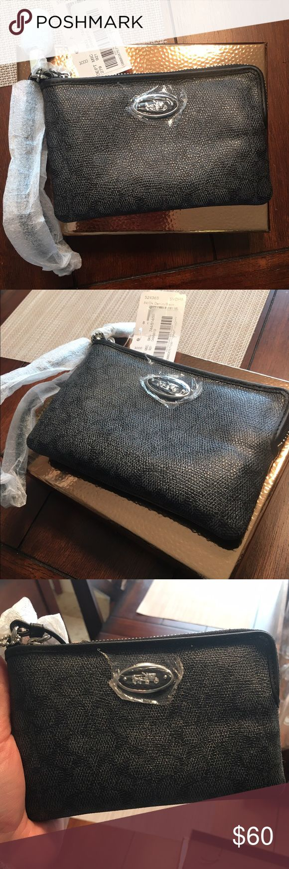 NWT Coach Clutch NWT Black Coach Clutch. NEW with tags, has never even been taken out of the wrapping. It also has an attachable strap to wear as a cross body bag. No trades please. Coach Bags Clutches & Wristlets