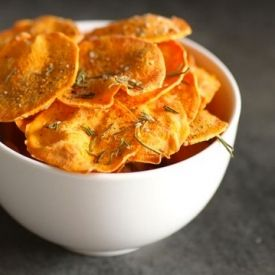 Microwave Sweet Potato Chips. Only a matter of minutes stand between you and delicious sweet potato chips.