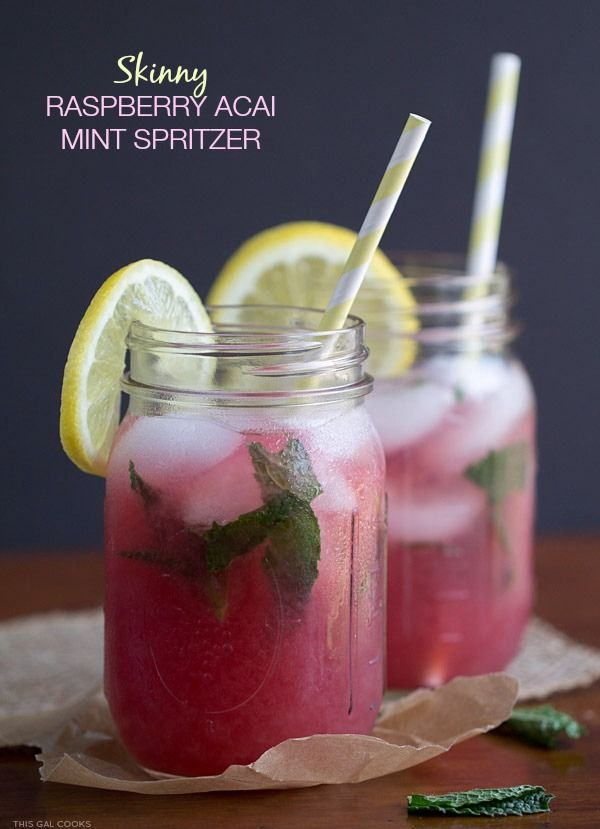 Skinny Raspberry Acai Mint Spritzer. Trop50 Raspberry Acai, club soda and fresh mint come together to make this refreshing drink!