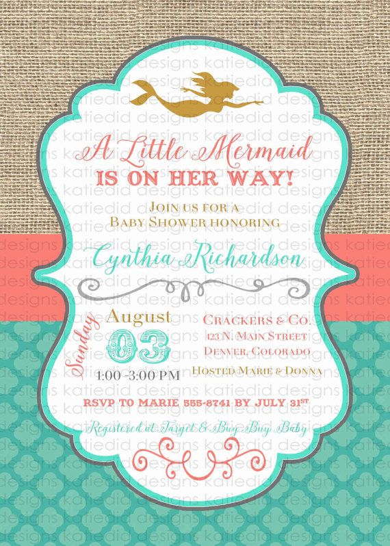 mermaid baby shower invitation bridal shower by katiedidesigns