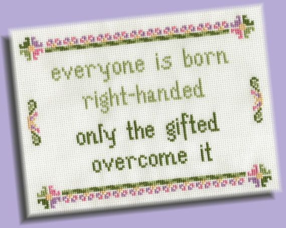 Funny Cross Stitch Pattern: Left-Handed Wisdom, INSTANT DOWNLOAD