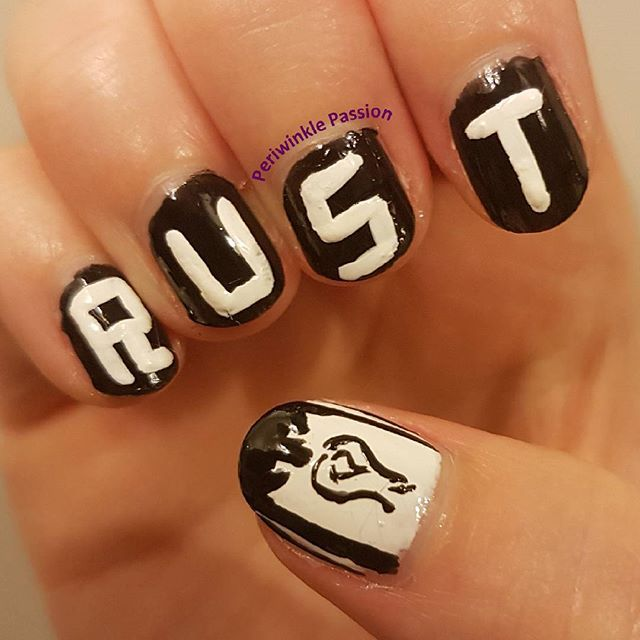 Rust game nail art. YouTube tutorial: https://youtu.be/-GTAEEtpKSs