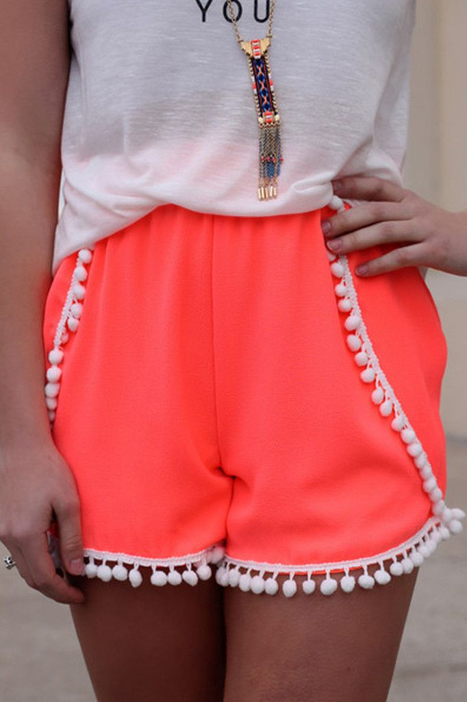 Neat Solid Pom Pom Shorts-Multicolor