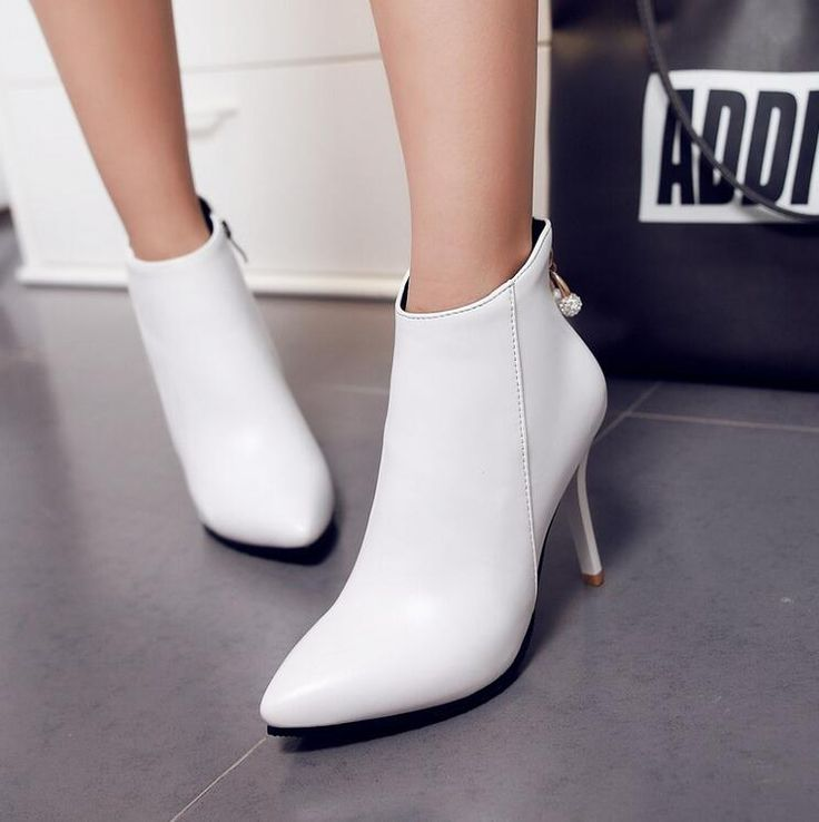 Cheap women boots, Buy Quality ankle boots directly from China ankle boots pointed toe Suppliers: Sexy PU Leather Women Pumps Ankle Boots Pointed Toe Pearl and Glitter Fake Crystal Shoes Women Zipper Thin Heels Women Boots