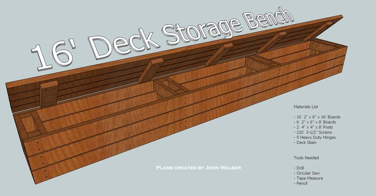 How to build a deck storage bench. Tools and Materials list.
