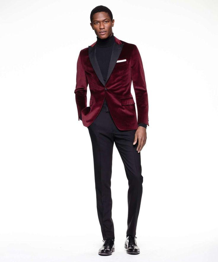 Sutton Peak Lapel Tuxedo Jacket In Burgundy Italian Velvet by Todd Snyder